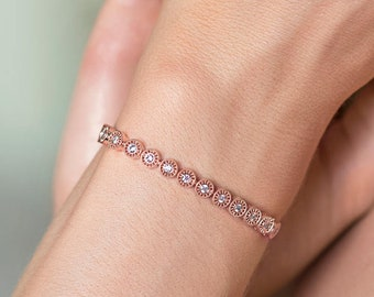 Rose Gold Tennis Bracelet, Crystal Bracelet, Bridal Jewelry, Wedding Accessories, Rose Gold Bridal Jewelry, Stackable Bracelet, B166-RG