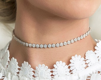 Bridal Choker, Silver Necklace, Crystal Choker, Bridal Jewelry, Bridal Necklace, Crystal Choker Necklace, Wedding Necklace, N069-S