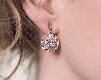 Gold Earrings Wedding Jewelry Dangle Earrings Bridal Accessories Wedding Earrings Art Deco Earrings Bridal Jewelry Vintage Earrings E142-G