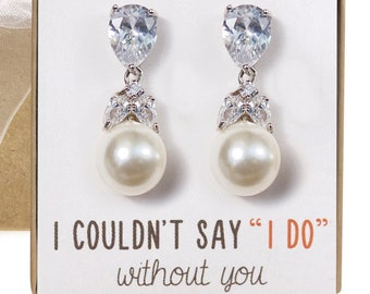 Gifts for bridesmaids, bridal shower gifts, bridesmaid gifts, bridesmaid earrings, maid of honor gifts, bridesmaid jewelry, Pearl, E194-S2