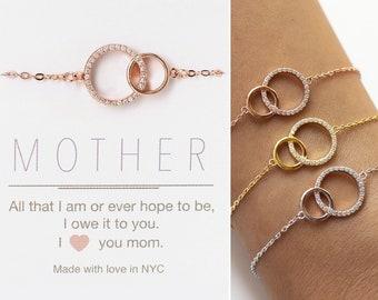 Mother of the Bride Gift, Gift for Mom, Interlocking Circle Bracelet, Wedding Bracelet, B310-12