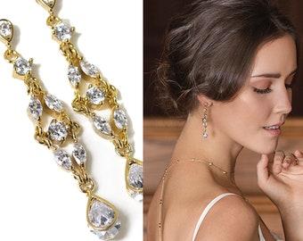 gold earrings drop earrings wedding earrings dangle earrings bridal jewelry long earrings bridal earrings chandelier earrings bride E067-G