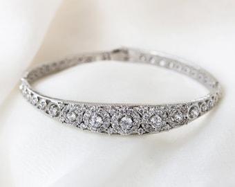 Silver Bangle, Wedding Jewelry, Bridal Bracelet, Silver Bridal Bracelet, Wedding Bracelet, Mother of Bride Jewelry, Vintage Bracelet, B251-S