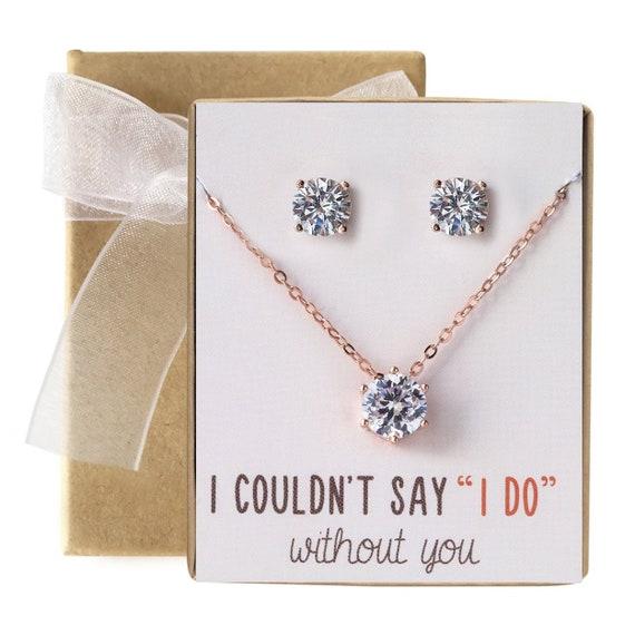Bridesmaid Gift Wedding Gift Bridesmaid Jewelry Silver ELAINE Gold Rose Gold Crystal Pendant Necklace Interlocking Circle Necklace