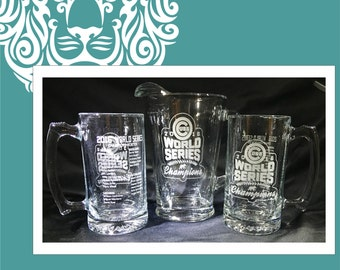 Chicago CUBS World Series Pitcher & two Roster Beer Mugs 27oz