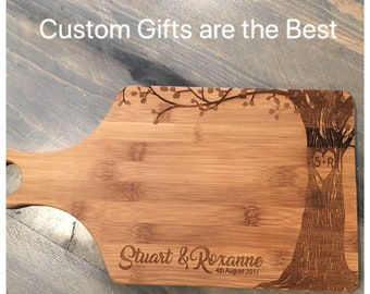 Personalized Wedding Gift - Engraved Bamboo Paddle Board - Tree, Name, Date, Initials in Heart - all included in price