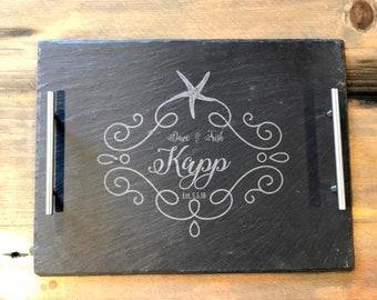 Beach Design Wedding Slate Tray w/Steel Handles - FREE PERSONALIZATION - Starfish border