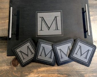 Slate Tray w/Steel Handles and matching set of 4 Slate Coasters - engraved with Initial design - Wedding gift, Houswarming idea,  Home Decor