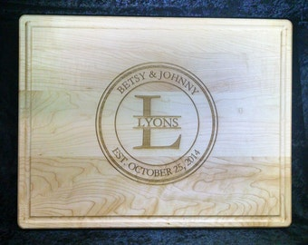 "Custom Engraved Large Maple Cutting Board 14""x18""x1"""