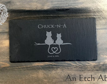 Couple of Cats in love Slate Cheese Tray - FREE PERSONALIZATION