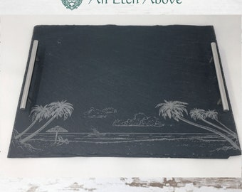 Tropical Scene Slate Tray with Stainless Steel Handles with FREE PERSONALIZATION - Wedding Idea, New Home Gift, Beach Lover Home Decor