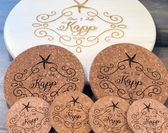 Beach Design Wedding Gift Set - Lazy Susan, two Cork Trivets and four Cork Coasters - FREE PERSONALIZATION - Starfish border