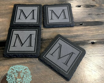Slate Coaster - Set of 4 with Contemporary Initial Design - Wedding Gift, New Home Idea, Birthday present, Home Bar, Realtor gift