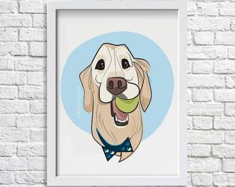 PET PORTRAIT - custom caricature dog portrait father's day gift pet memorial pet illustration personalized portrait dog lover gift pet loss