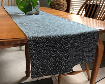 7 foot dining table solid wood table runner blue with white abstract print for foot long tables dining table etsy