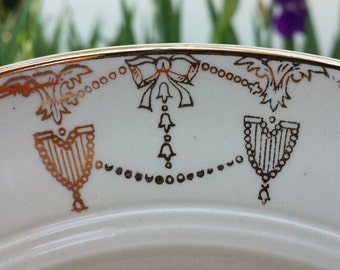Art Deco Soup / Salad Bowls in Commodore Pattern by Salem China Co. Made in USA 23K Gold