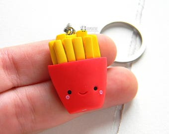Kawaii French fries, Fimo key ring, food miniatures, chips, fries Keyring in polymer clay