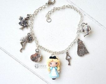Alice in Fimo Braccialetto, Alice nel paese delle meraviglie, Alice in wonderland bracelet