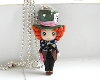 Nutty Hatter Necklace in Fimo, Mad Hatter, Alice in Wonderland, necklace in polymer clay