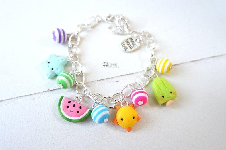 summer kawaii popsicle Summer bracelet sun seastar watermelon Summer bracelet fimo