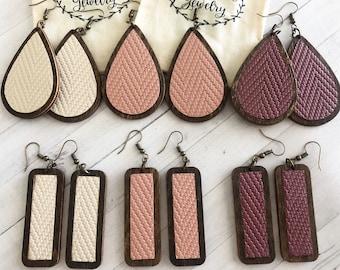 Leather Wooden Teardrop & Rectangle Earrings