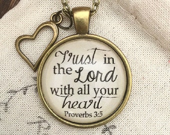 "Bible Verse Pendant Necklace ""Trust in the Lord with all your heart."" Proverbs 3:5"
