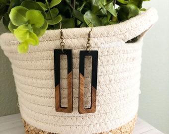 Resin & Wood Rectangle Earrings