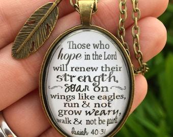 Isaiah 40:31 Bible Verse Pendant Necklace
