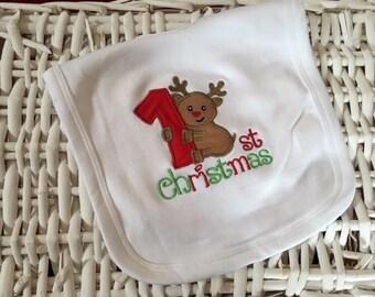 My First Christmas Baby Girls/Boys Bib 100% Cotton - Reindeer