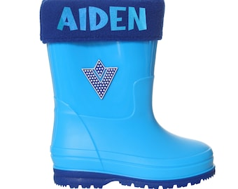 Boys Personalised Name Wellington Boots Kids Rain Boots Childrens Waterproof Shoes Infant Wellies Non Slip Toddler Young