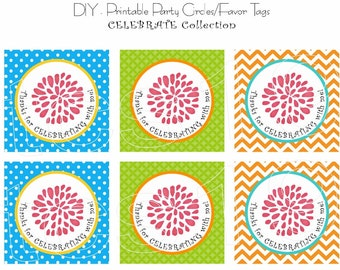 PRINTABLE Party Circles - Celebrate - Favor Tags - INSTANT DOWNLOAD
