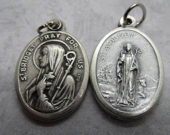 St. Bridget of Ireland holy medal - Brigit, Brigid - Catholic saint - patron of babies, blacksmiths, dairy workers, nuns, poets, midwives