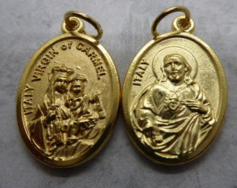 Our Lady of Mount Carmel holy medal w the Sacred Heart of Jesus - Gold Plated or Silver Ox - Patron of the Carmelite Order - Brown Scapular
