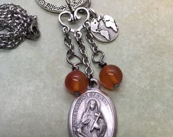 St Catherine of Siena message necklace - If you are what you should be, you will set the whole world ablaze! holy medal, assemblage pendant