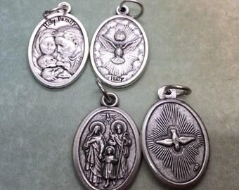 holy spirit & holy family holy medal - silver oxide - JMJ Jesus, Mary, Joseph - God - catholic