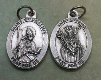 Twitches pendants etsy sts cornelius and cyprian holy medal catholic patron saint of earaches epilepsy fever twitching domestic animals and of north africa aloadofball Images