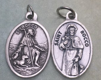 St. Rocco/Roch holy medal - French Catholic saint - patron of bachelors, dogs, invalids, surgeons, against epidemics, knee problems