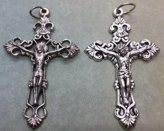 Fleur de Lis Crucifix holy medal - Catholic, Jesus, Cross.  Passion of Christ. Good Friday. Solid crucifix or cutout crucifix