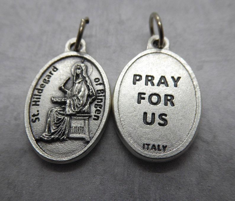 Hildegard von Bingen silver oxide holy medal  Catholic Saint image 0