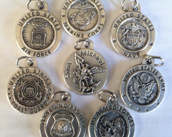 St Michael the Archangel holy medal w United States Armed Forces divisions: Air Force, Army, Marine Corps, Navy, Coast Guard & Serve/Protect
