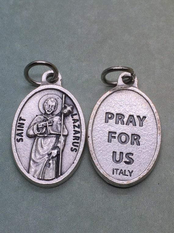 St  Lazarus of Bethany silver oxide holy medal - Catholic saint - Martha  and Mary, Jesus wept, and raised him from the dead  Bible saint