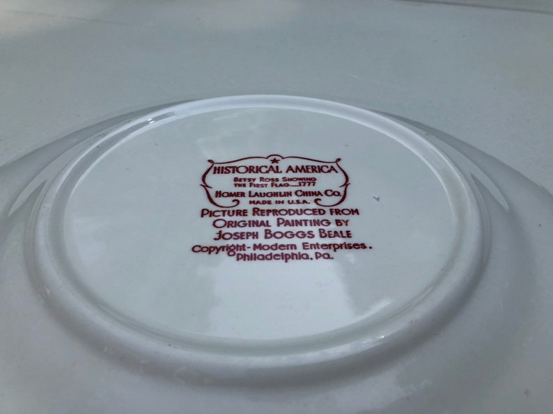 Homer Laughlin Historical America Red Scalloped Betsy Ross Luncheon Plate