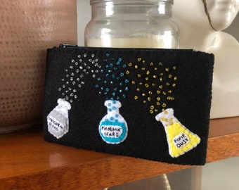 Potions handsewn felt purse with zip, embroidered with beaded decoration, magical, magic, witchy, Halloween, spooky alchemy trinkets bag
