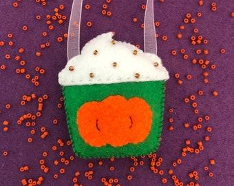 Pumpkin Spice Latte handsewn felt decoration, Halloween home decor, food decoration, spooky, seasonal drinks cup, autumn, fall decor