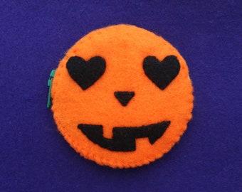 Pumpkin face handsewn felt purse with zip, pocket mirror pouch, cute Halloween trinkets bag, Jack o Lantern design, spooky accessory