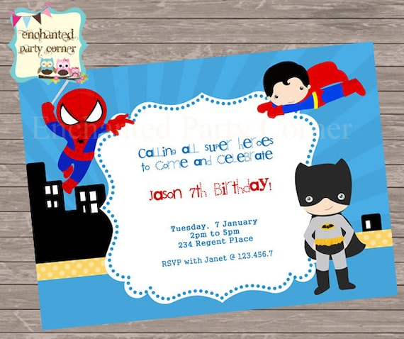 Batman Spiderman Superman Birthday Invite