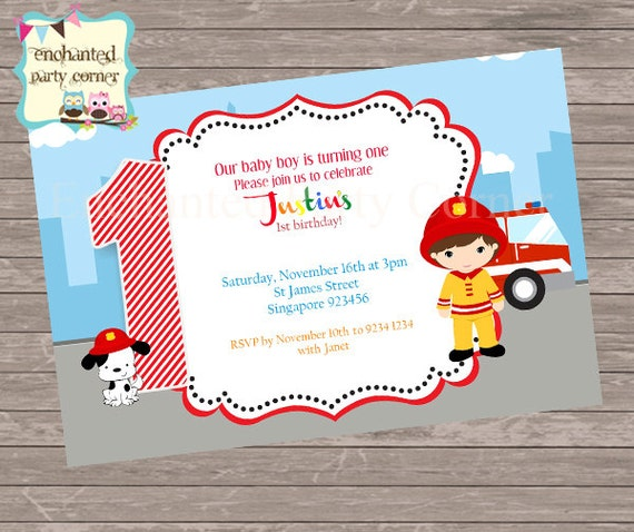 Little Boy Fire Fighter Theme Birthday Invite Fire Fighter Fire Engine Dog 1 Year Old Party Baby Boy Red