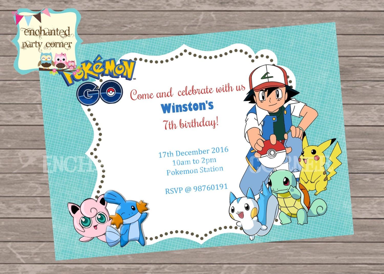 Pokemon Birthday Invite Card pikachu pokemon trainer | Etsy