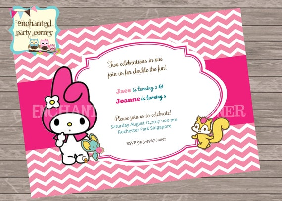 Cute my melody birthday invite card etsy image 0 stopboris Images