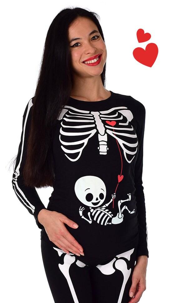 Ladies Girls Leggings Skeleton Maternity Halloween Fancy Dress Bottom Wear